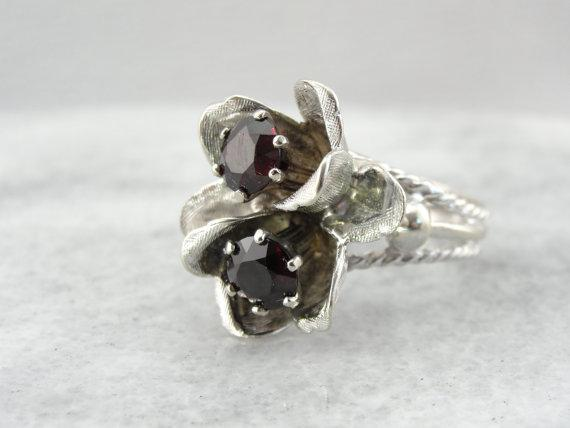 Double Bloom Red Garnet and White Gold Cocktail Ring