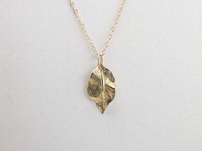 14K Gold Leaf Pendant Necklace