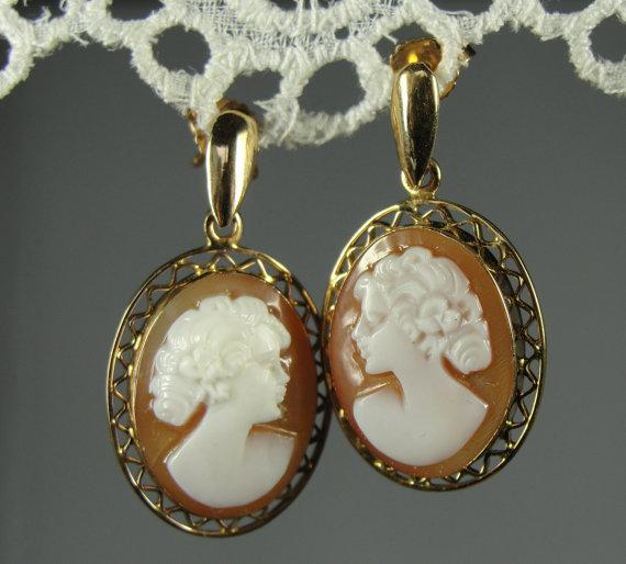 Cameo Earrings, Fine Shell, 14k Gold