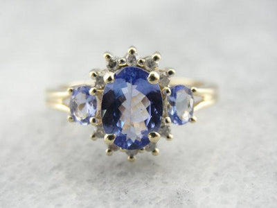 Tanzanite and Diamond Cocktail Ring, Ladies Cluster Ring