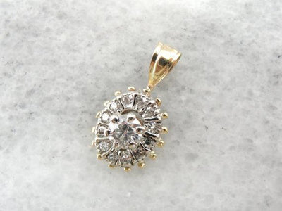 Unique Diamond in Diamond Halo Retro Era Vintage Pendant