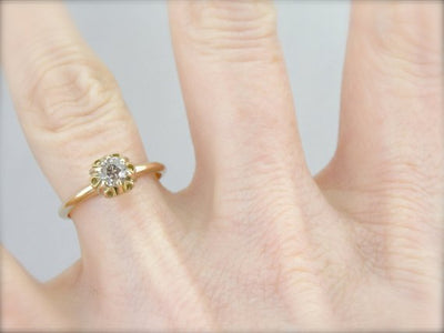 Antique Old Mine Cut Diamond Solitaire Engagement Ring