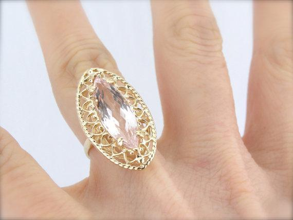 Large Marquise Morganite Gem in Filigree Gold Cocktail Ring