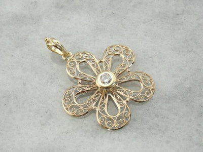 Feminine Filigree  Sparkling Center Diamond Floral Pendant