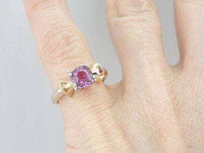 Retro Pink Sapphire Ring, 14K Yellow and White Gold Bow Shape