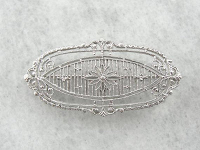 Gorgeous Floral Filigree Bar Pin in White Gold