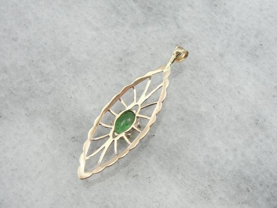 Art Nouveau Lavalier Pendant with Fine Green Garnet