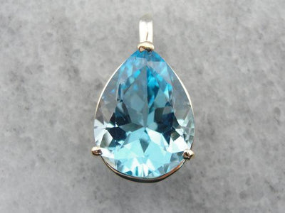 Pear Cut Blue Topaz Gold Pendant