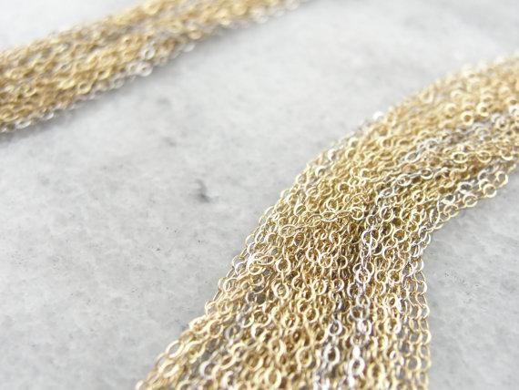 Yellow Gold Multi Chain Necklace with Silver Accents