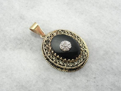 Diamond Center  Gold Filigree and Onyx Pendant