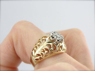 Filigree Dome Ring with Updated Diamond Accents