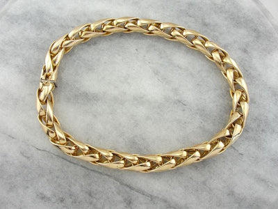 Vintage Italian Polished Yellow Gold Snake Chain Necklace