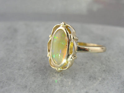 Pale Peach Ethiopian Opal Cocktail Ring