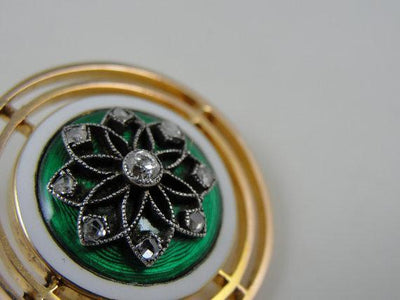 Rich Kelly Green Guilloche Enamel Brooch