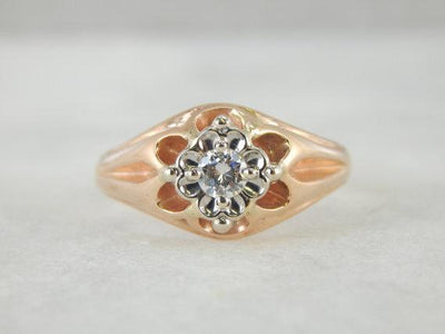 10K Rose and 14K White Victorian Belcher Diamond Ring
