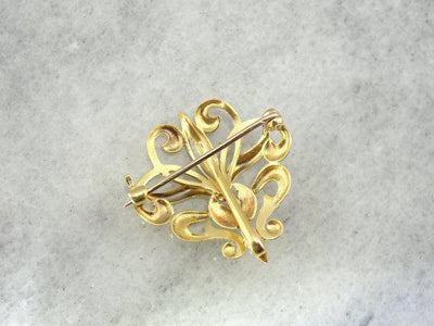 Fine Gold Diamond  Antique Fleur de Lis Watch Pin