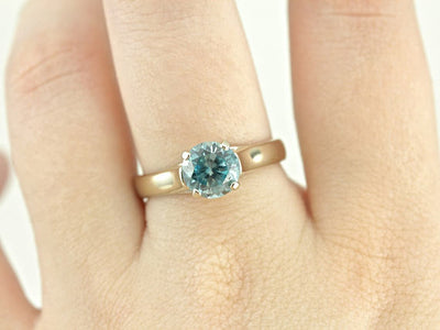 Blue Zircon Solitaire White Gold Ring