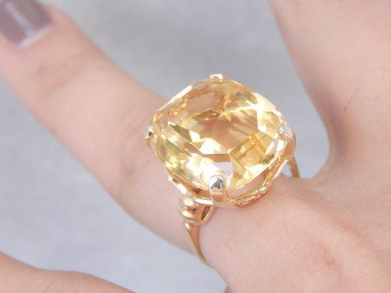 Huge Vintage Yellow Gold and Yellow Beryl Cocktail Ring