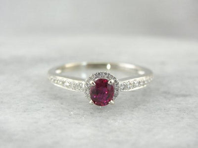 Pink Sapphire Diamond Halo Cocktail or Engagement Ring