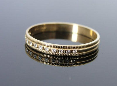 Milgrain Bead Set Vintage Diamond Gold Wedding Band
