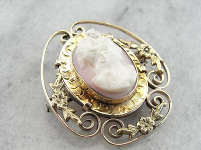 Art Nouveau Era Filigree with Pink Shell Cameo