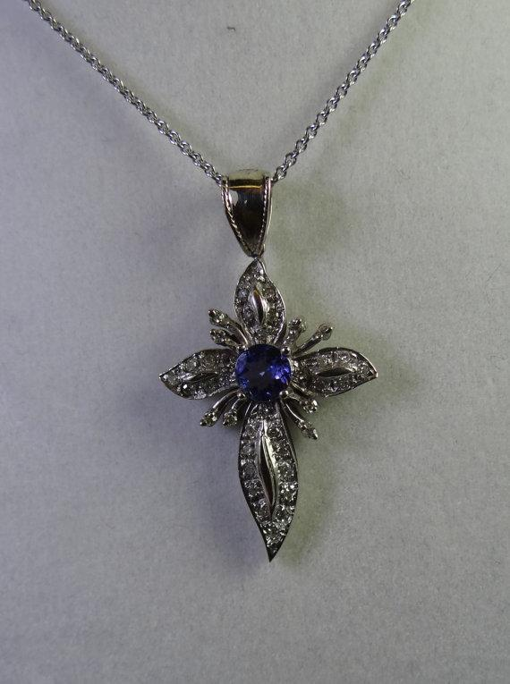 Diamond Cross Pendant, Tanzanite Center