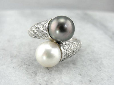 Black and White Double Pearl Diamond Accents Bypass Ring