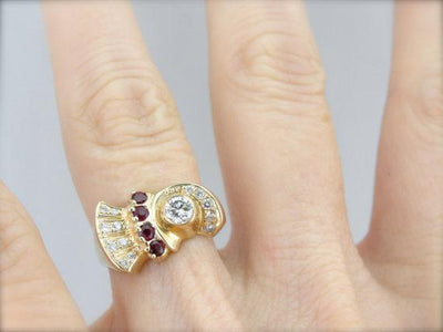 Ruby and Diamond Cocktail Ring from the Retro Era in Fine Gold