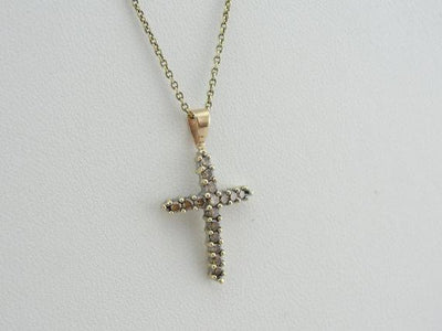 Outstanding Champagne Diamond Inlay Cross Pendant