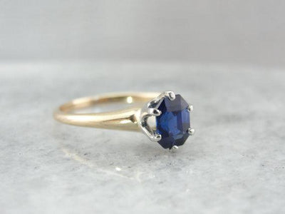 Nightime Blue Ceylon Sapphire Solitaire Ring