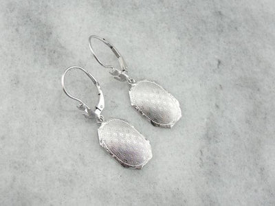 Textured White Gold Drop Earrings from the Early 1900's