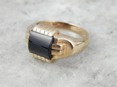 Mid Century Onyx Ring for Man or Lady