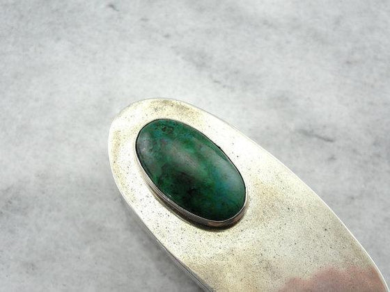 Sterling Silver Antique Pill Box with Oval Chrysocolla