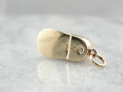 Vintage Baby Shoe Gold Keepsake Charm