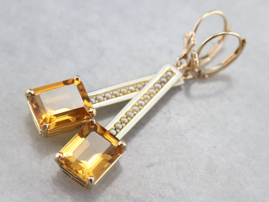 Enamel Citrine and Seed Pearl Drop Earrings
