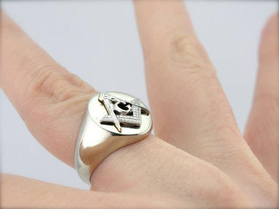 White Gold Masonic Men's Ring