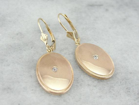 Art Deco Rose Gold and Diamond Cufflink Earrings