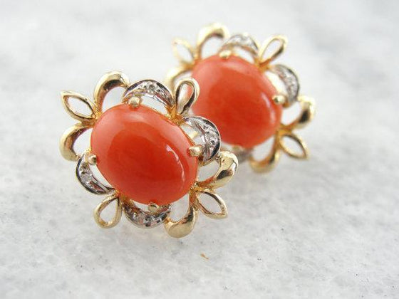 Orange Coral Filigree Stud Earrings with Diamond Accents