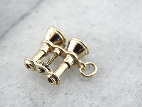 Detailed Binoculars in Fine Gold, Pretty Charm or Pendant