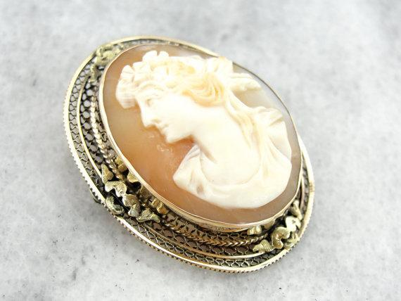 Victorian Cameo with Flower Bedecked Woman