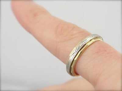 Faceted and Engraved Wedding Band in 14K Yellow and White Gold