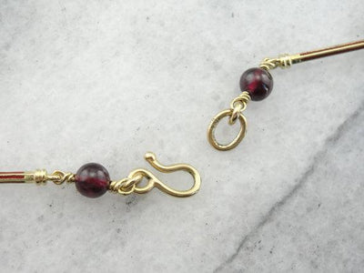 Ancient Style Garnet and Gold Bar Necklace