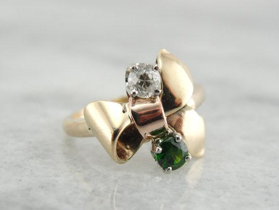 Diamond, Tsavorite Garnet  Retro Era Yellow and Rose Cut, Palladium