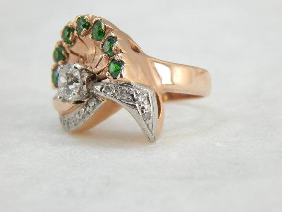 1940's Rose Gold Diamonds and Green Garnets Cocktail Ring