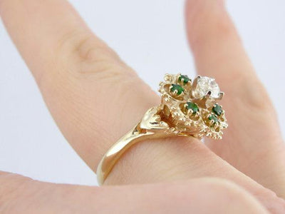 Demantoid Garnet and Diamond Ladies Cocktail Ring