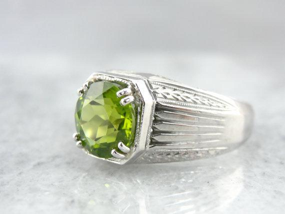 Substantial Deco Peridot Ring for Man or Woman
