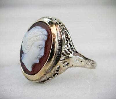 Art Deco Filigree and Unique Stone Cameo Ring