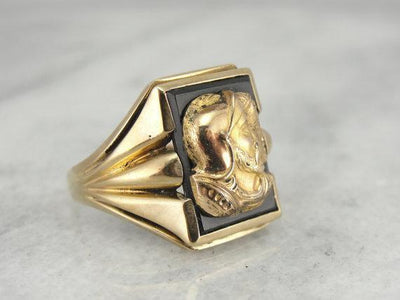 Mens Mid Century, Gold Overlaid Onyx Cameo Ring