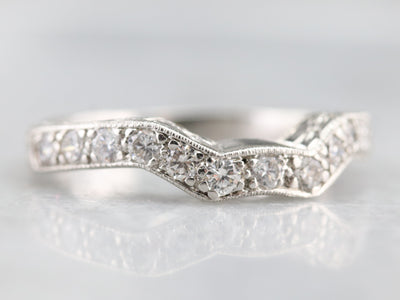 Engraved Platinum and Diamond Guard Band