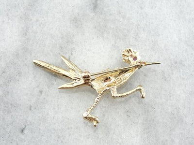 Gorgeous Three Dimensional Road Runner Brooch